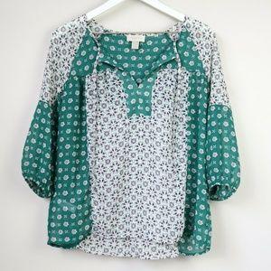LOFT Green Floral Neckline Tie 3/4 Sleeve Blouse